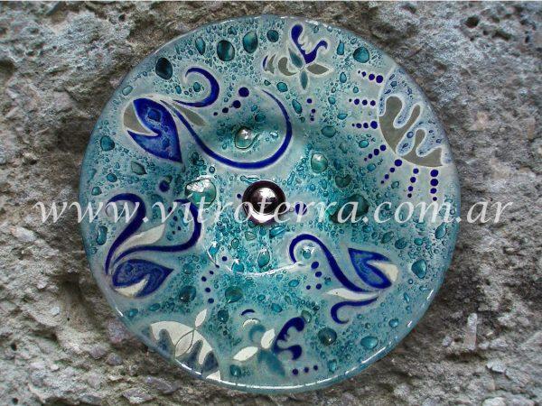 Bacha circular de vidrio BP-Aguamarina