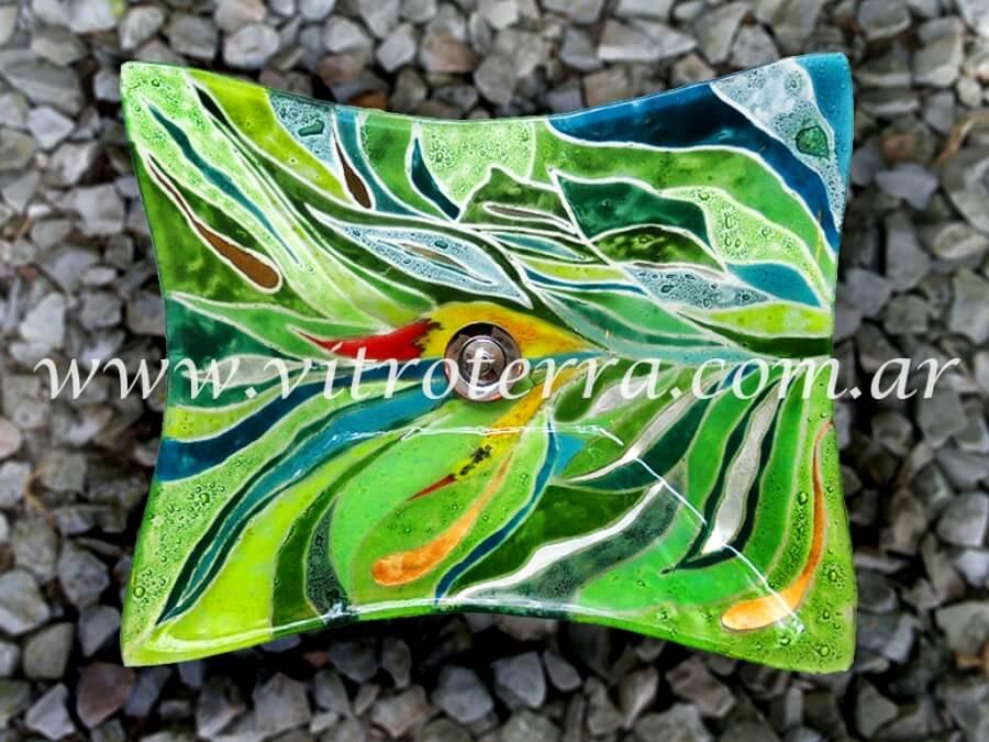 Bacha rectangular de vidrio Esmeralda
