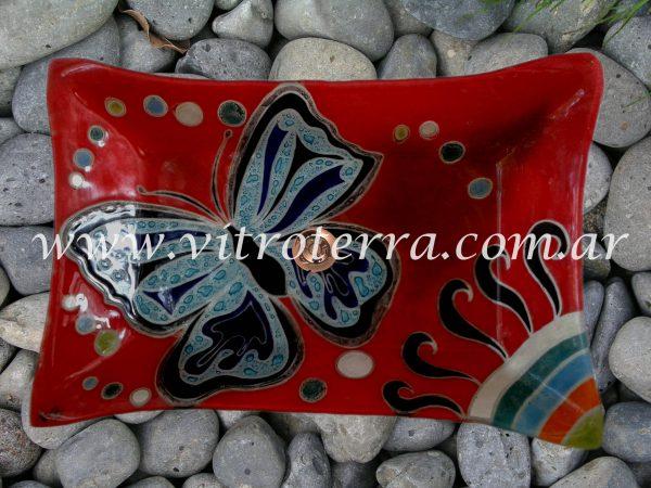 Bacha rectangular de vidrio GBP-Papillon-Roja