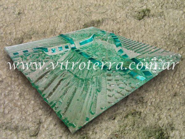 Centro cuadrado de vidrio Cristal