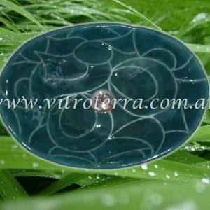 Bacha oval de vidrio Verde-Oscuridad