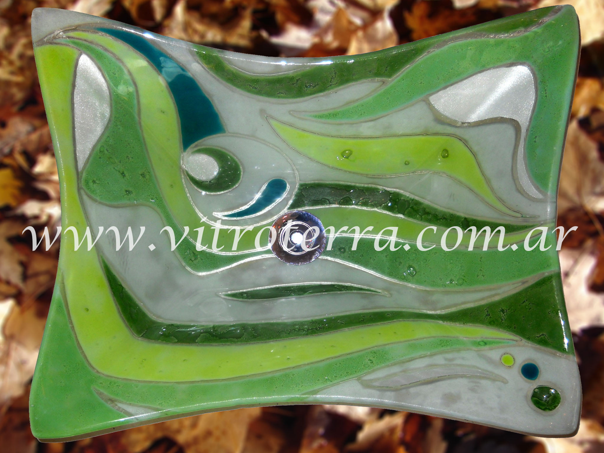 Bacha rectangular de vidrio Verde-Vivot