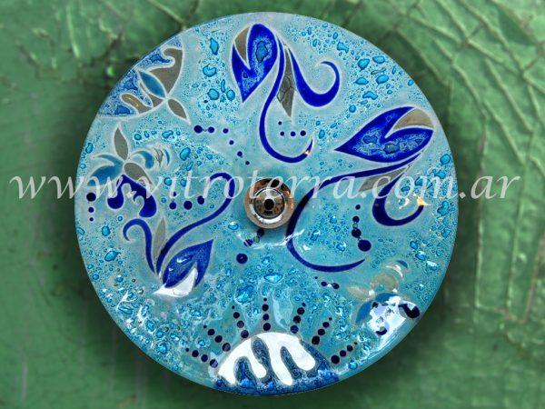 Bacha circular de vidrio Aguamarina