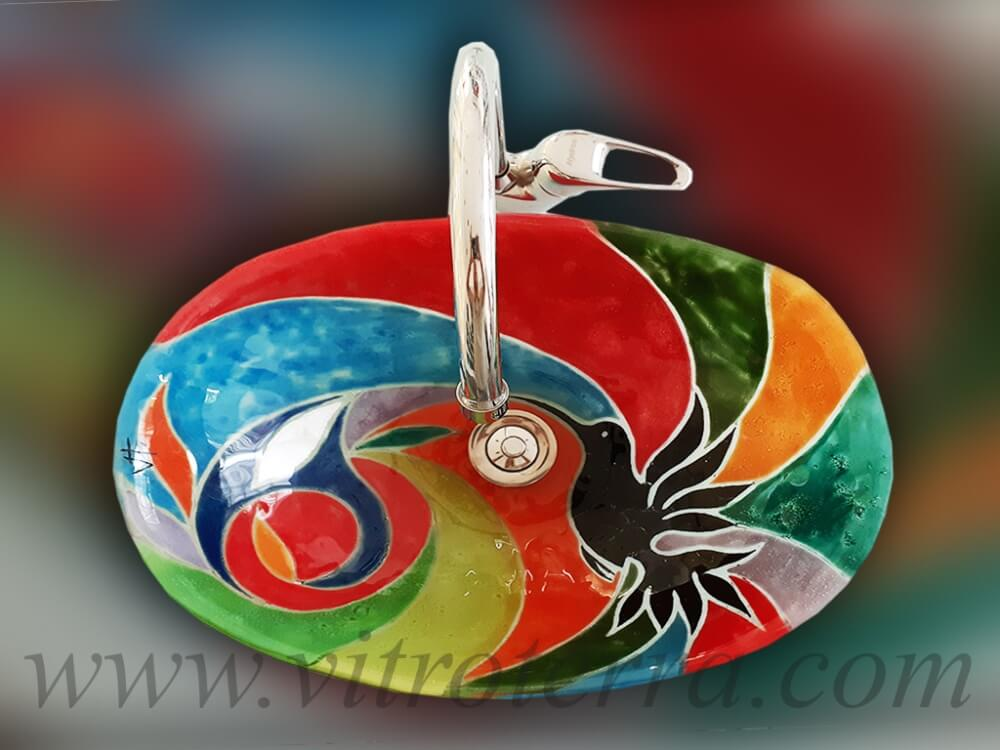 Bacha oval de vidrio Colibrí