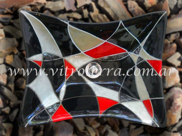 Bacha rectangular de vidrio Silver-Shade+Rojo
